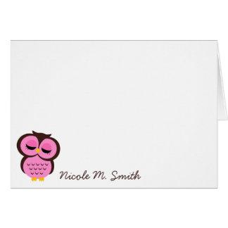 Búho rosado personalizado Notecards Tarjeta Pequeña