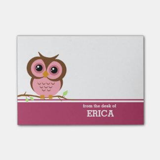 Búho rosado personalizado nota post-it