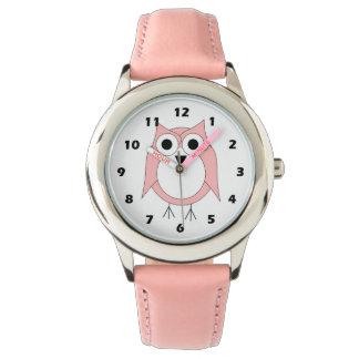 Búho rosado relojes de pulsera