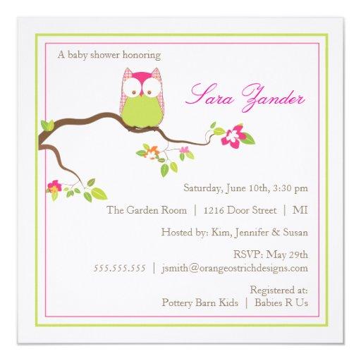 Búho rosado y verde de la invitación de la fiesta
