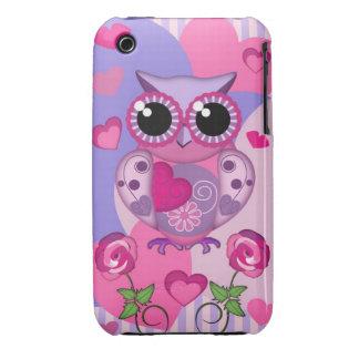 Búho, rosas y corazones románticos funda bareyly there para iPhone 3 de Case-Mate