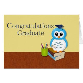 Búho sabio de la graduación tarjeta de felicitación