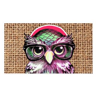 Búho sabio del tatuaje colorido fresco con los vid plantillas de tarjeta de negocio