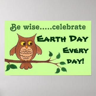 Búho sabio - Día de la Tierra - poster adaptable