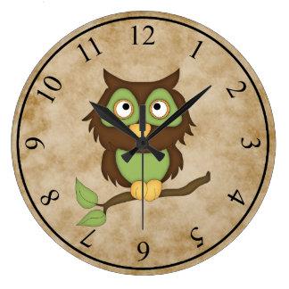 Búho sabio reloj redondo grande