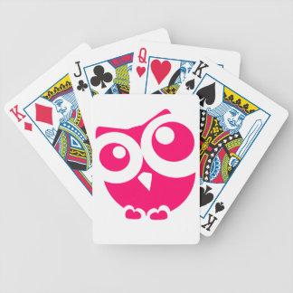 Búho simple rosado baraja de cartas