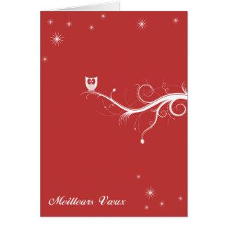 Buho sobre una rama - rojo tarjeta