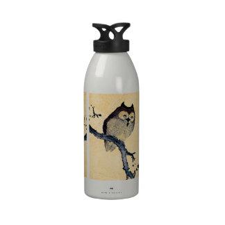 Búho soñoliento del vintage botella de agua