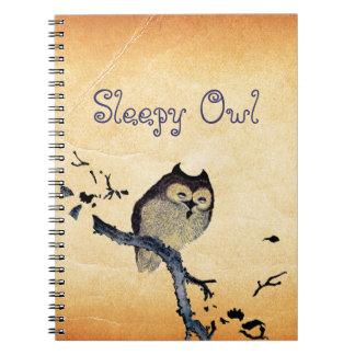 Búho soñoliento del vintage cuadernos