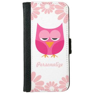 Búho soñoliento y flores rosados personalizados funda cartera para iPhone 6