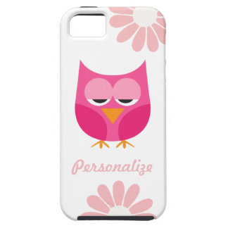 Búho soñoliento y flores rosados personalizados iPhone 5 funda