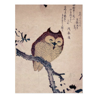Búho sonriente japonés lindo postal