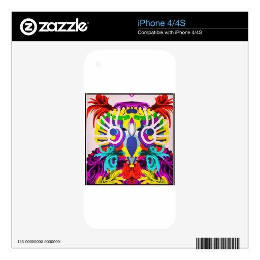 Búho tribal con muchos colores calcomanías para el iPhone 4S