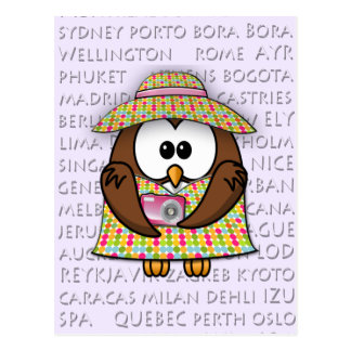 búho turístico - chica tarjeta postal