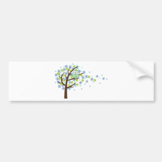 Búho ventoso azul del árbol pegatina de parachoque