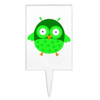 Búho verde Cakepick Figura Para Tarta