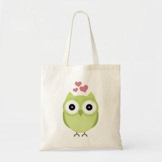 Búho verde con los corazones bolsa tela barata