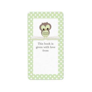 Búho verde del bebé en etiqueta del Bookplate del  Etiqueta De Dirección