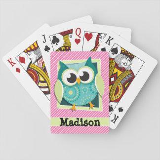 Búho verde en rayas rosadas y blancas cartas de póquer