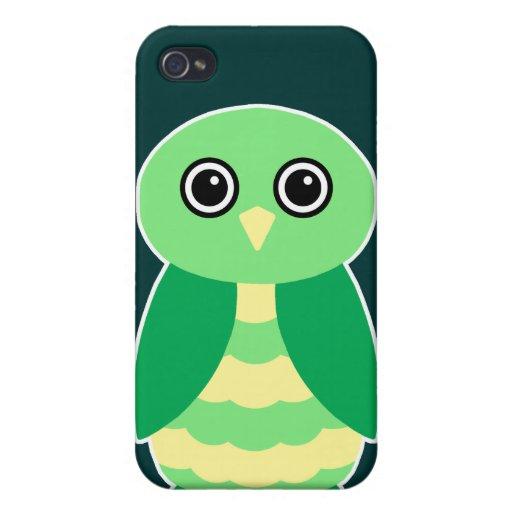 Búho verde iPhone 4 carcasas