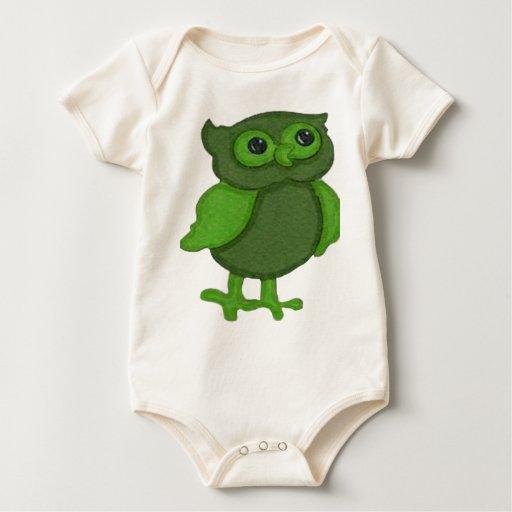 Búho verde lindo body de bebé