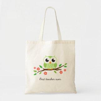 Búho verde lindo en el mejor profesor de la rama f bolsas lienzo