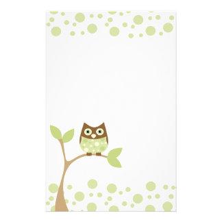 Búho verde suave del bebé papeleria