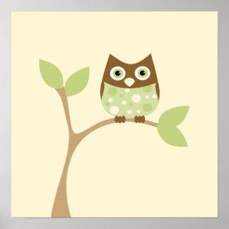 Búho verde suave del bebé póster