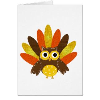 Búho vestido encima como de Turquía Tarjeta De Felicitación