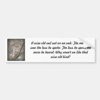 Búho viejo sabio - pegatina para el parachoques pegatina para auto
