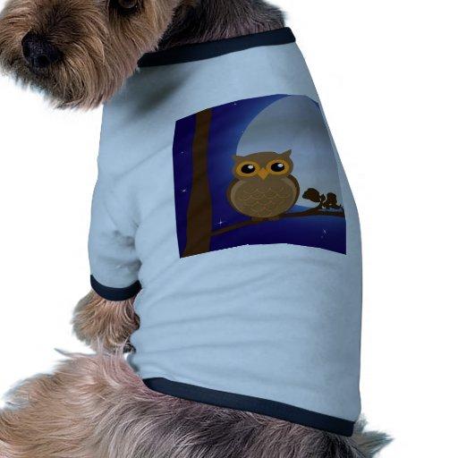 búho y alegría de la calma de la paz del claro de  camisetas mascota