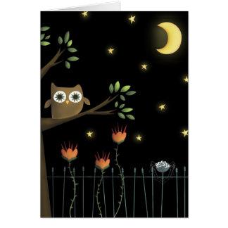 Búho y araña de Halloween en la noche Tarjeta De Felicitación