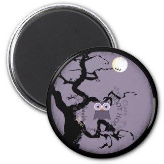 Búho y árbol Gnarled espeluznante para Halloween Imanes De Nevera