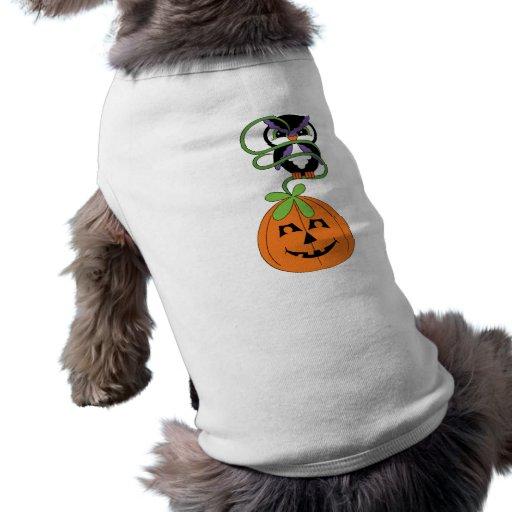 Búho y calabaza de Halloween Playera Sin Mangas Para Perro