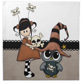 ¡Búho y chica de Halloween con los cráneos, lindos Servilletas Imprimidas
