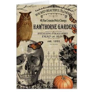 Búho y cráneo modernos de Halloween del vintage Tarjeta De Felicitación