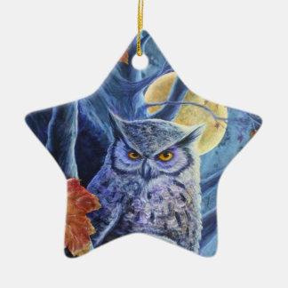 Búho y cuervo del otoño adorno navideño de cerámica en forma de estrella