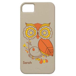 Búho y diseño floral amarillo anaranjado del brwo iPhone 5 Case-Mate funda