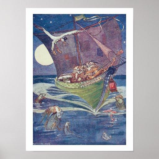 Búho y el minino en el barco del verde de guisante posters