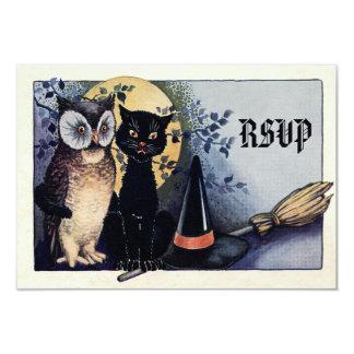 """Búho y gato lindos Halloween RSVP del vintage Invitación 3.5"""" X 5"""""""