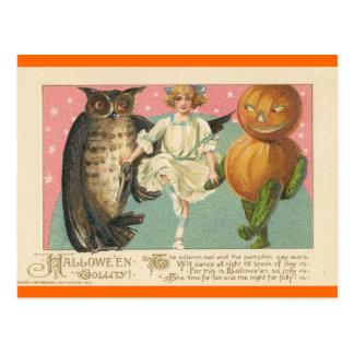 Búho y goblin Halloween del vintage Postales