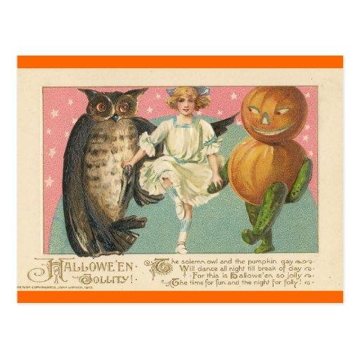 Búho y goblin Halloween del vintage Tarjeta Postal