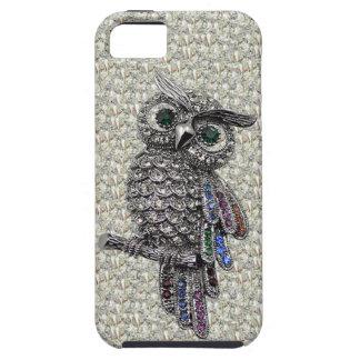Búho y joyas de la imagen impresa de la plata en iPhone 5 funda
