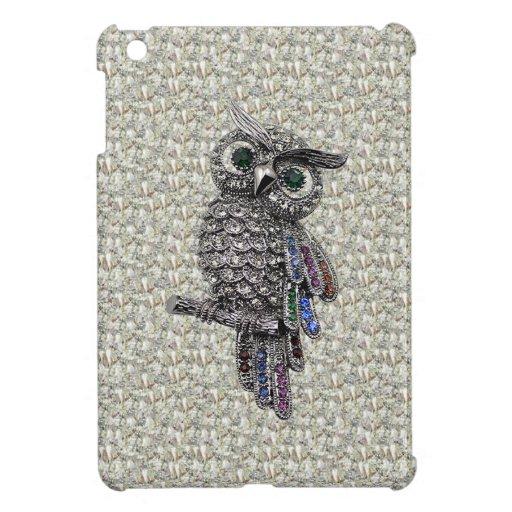 Búho y joyas impresos plata en la impresión de los iPad mini fundas