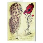 Búho y la amapola roja tarjetas