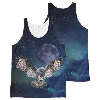 Búho y luna por todo las camisetas sin mangas