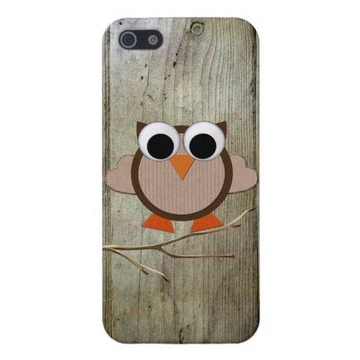 Búho y madera caprichosos iPhone 5 fundas