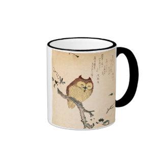 Búho y magnolia - mimizuku del ni de Kobushi Tazas De Café