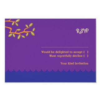 """Búho y minino (púrpuras) que casa RSVP con los Invitación 3.5"""" X 5"""""""