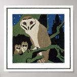 Búho y Owlets del estilo del art déco Posters